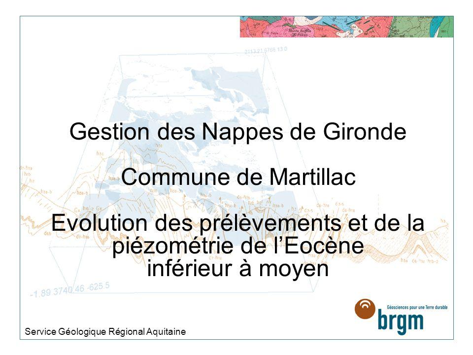 Gestion des Nappes de Gironde Commune de Martillac Evolution des prélèvements et de la piézométrie de lEocène inférieur à moyen Service Géologique Régional Aquitaine