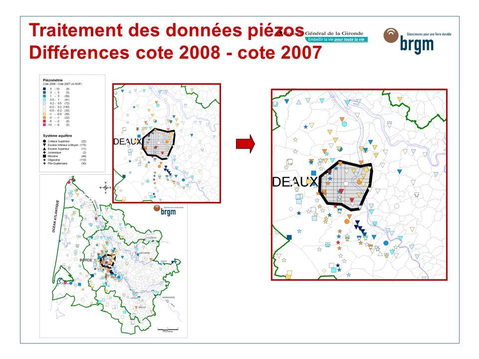 Traitement des données piézos Différences cote 2008 - cote 2007