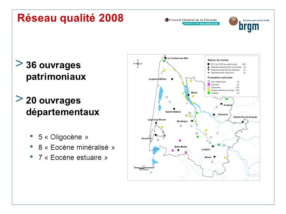 Réseau qualité 2008 > 36 ouvrages patrimoniaux > 20 ouvrages départementaux 5 « Oligocène » 8 « Eocène minéralisé » 7 « Eocène estuaire »