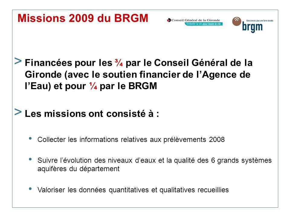 Missions 2009 du BRGM > Financées pour les ¾ par le Conseil Général de la Gironde (avec le soutien financier de lAgence de lEau) et pour ¼ par le BRGM