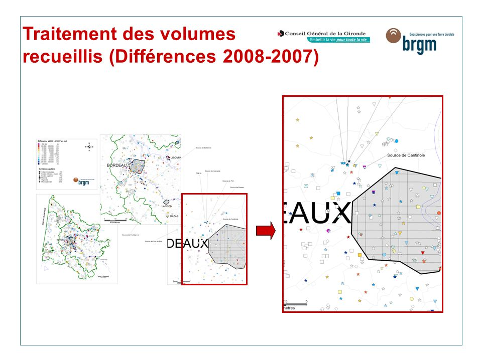 Traitement des volumes recueillis (Différences 2008-2007)