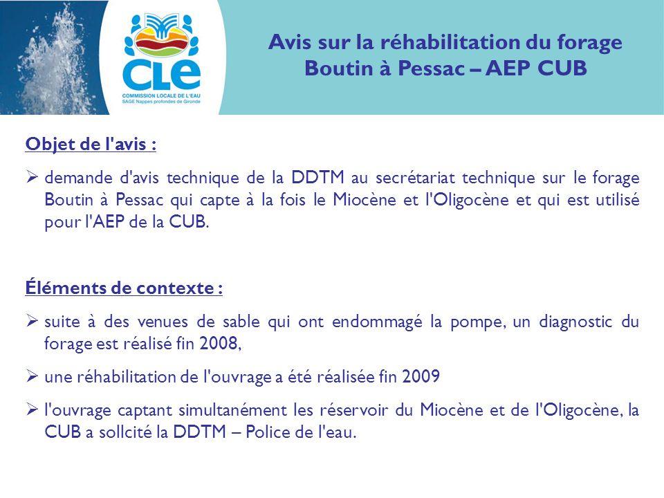 Avis sur la réhabilitation du forage Boutin à Pessac – AEP CUB Objet de l'avis : demande d'avis technique de la DDTM au secrétariat technique sur le f