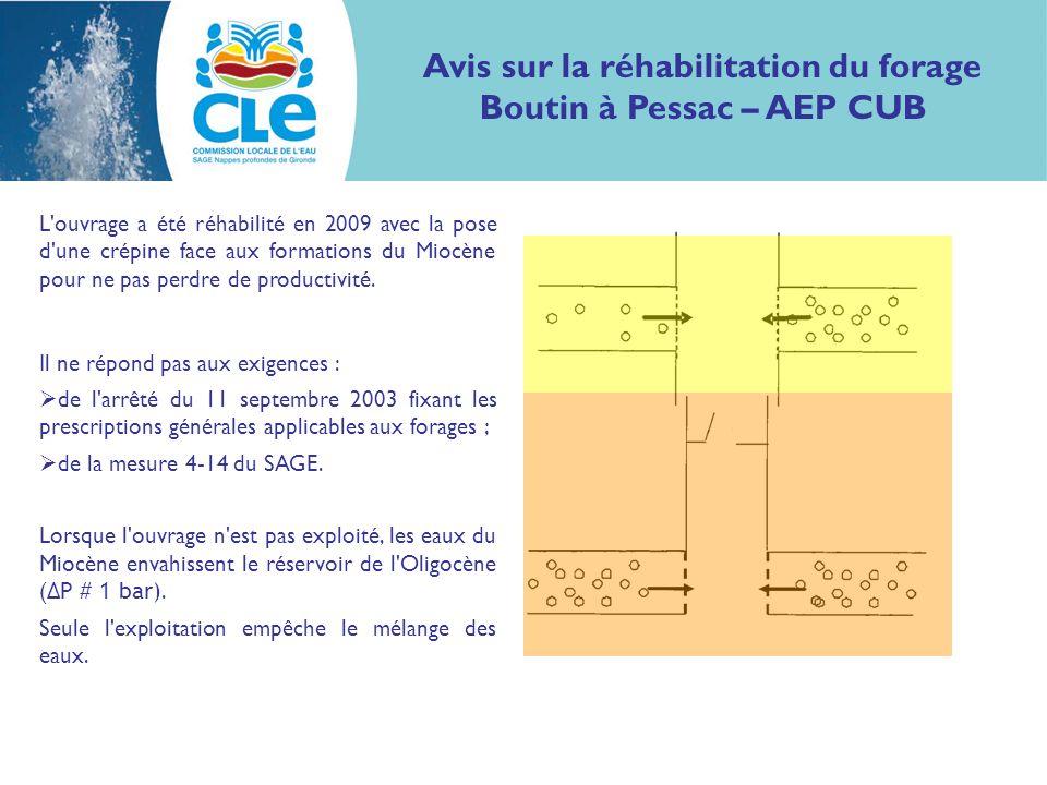 Avis sur la réhabilitation du forage Boutin à Pessac – AEP CUB L'ouvrage a été réhabilité en 2009 avec la pose d'une crépine face aux formations du Mi