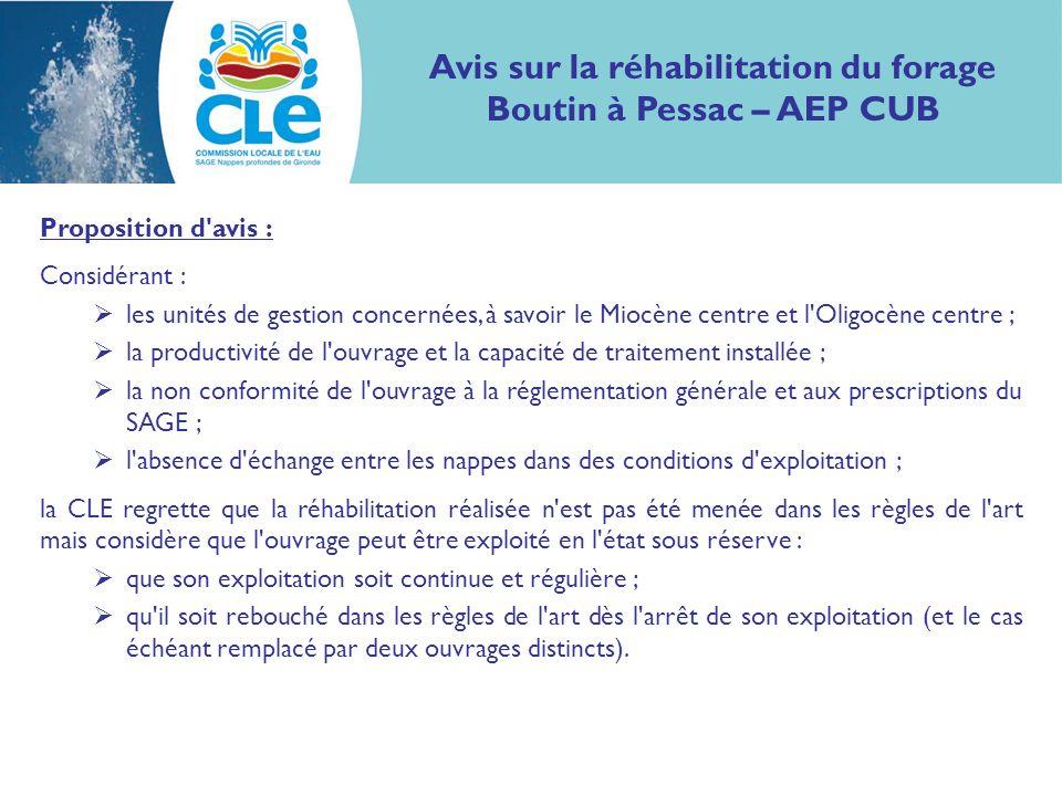 Avis sur la réhabilitation du forage Boutin à Pessac – AEP CUB Proposition d'avis : Considérant : les unités de gestion concernées, à savoir le Miocèn
