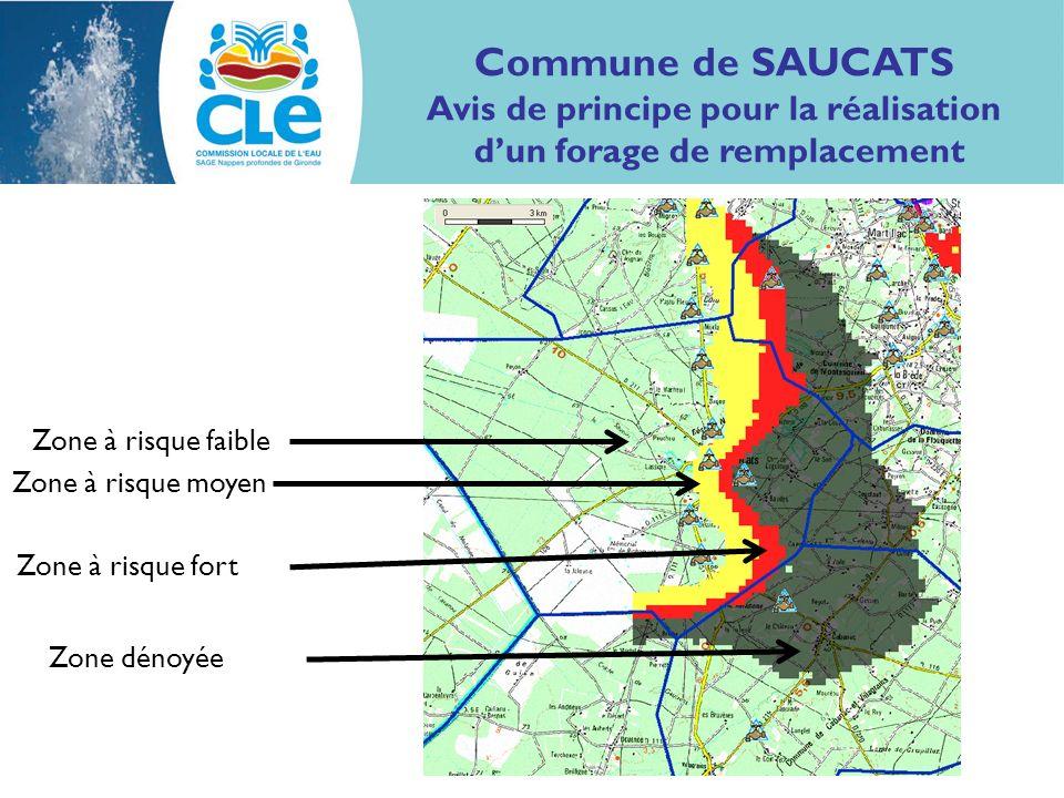 Zone dénoyée Zone à risque fort Zone à risque moyen Zone à risque faible Commune de SAUCATS Avis de principe pour la réalisation dun forage de remplac