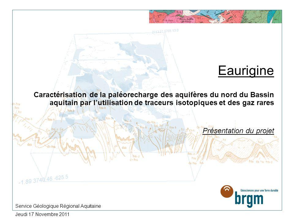Eaurigine Caractérisation de la paléorecharge des aquifères du nord du Bassin aquitain par lutilisation de traceurs isotopiques et des gaz rares Prése