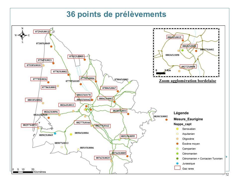 36 points de prélèvements Service Géologique Régional Aquitaine > 12
