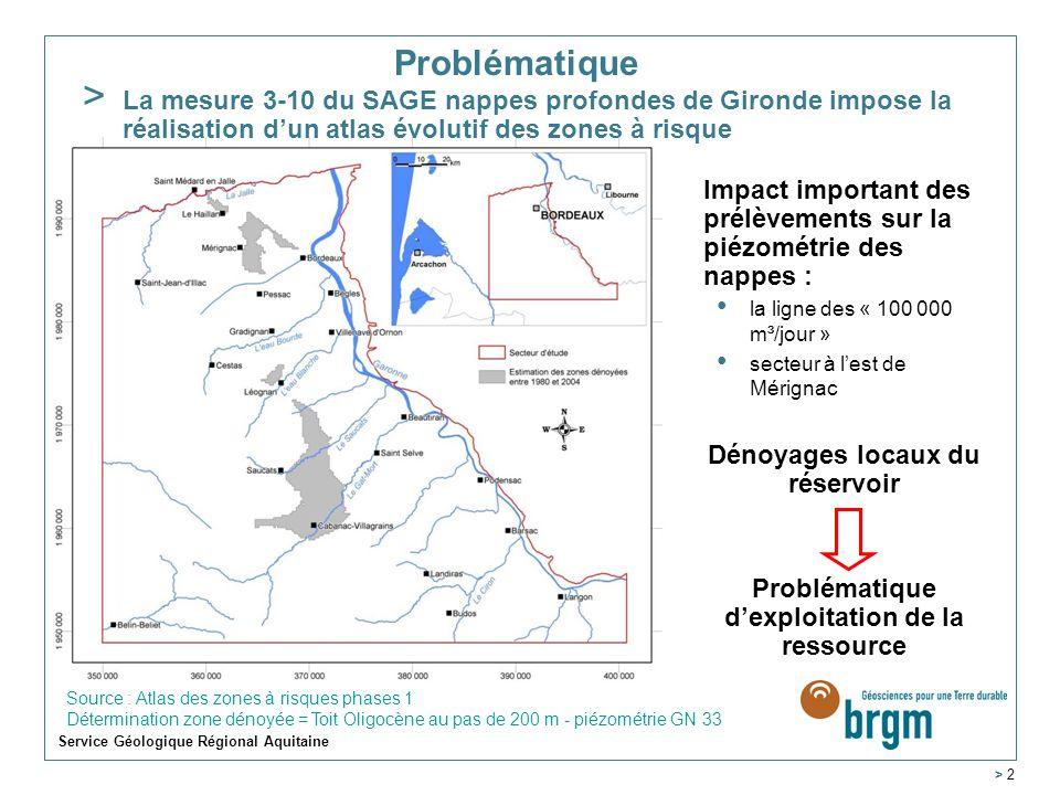 Service Géologique Régional Aquitaine > 2 Problématique Impact important des prélèvements sur la piézométrie des nappes : la ligne des « 100 000 m³/jo