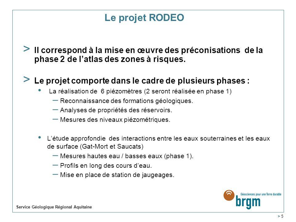 Le projet RODEO > Il correspond à la mise en œuvre des préconisations de la phase 2 de latlas des zones à risques. > Le projet comporte dans le cadre