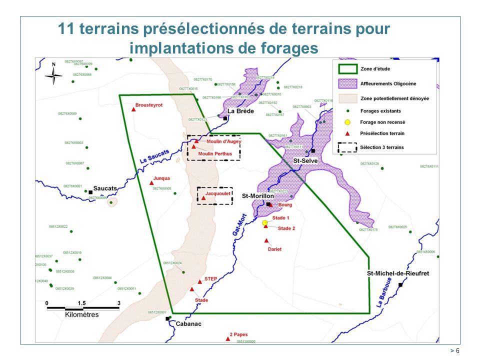 > 6 11 terrains présélectionnés de terrains pour implantations de forages