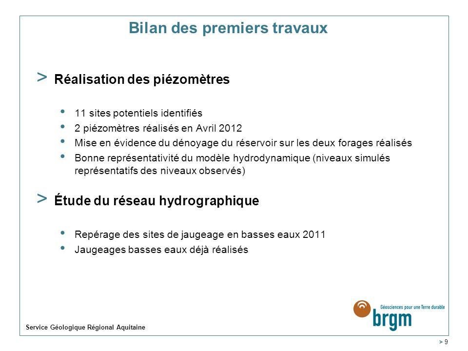 Bilan des premiers travaux > Réalisation des piézomètres 11 sites potentiels identifiés 2 piézomètres réalisés en Avril 2012 Mise en évidence du dénoy