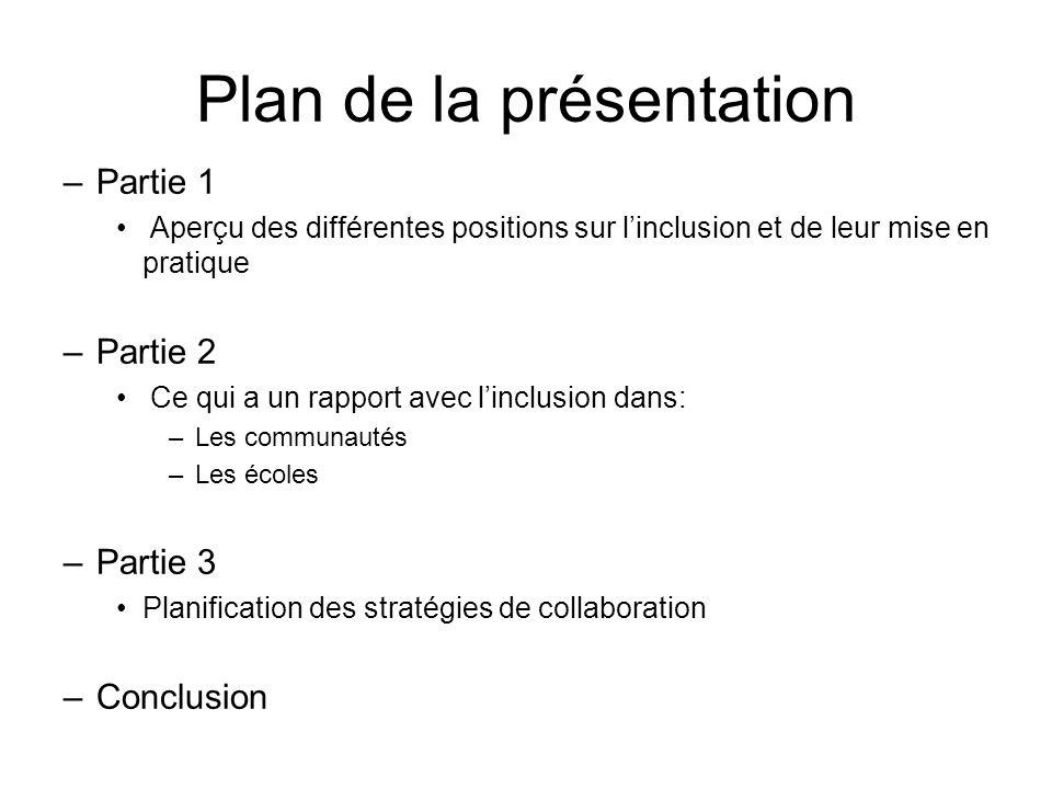 Plan de la présentation –Partie 1 Aperçu des différentes positions sur linclusion et de leur mise en pratique –Partie 2 Ce qui a un rapport avec linclusion dans: –Les communautés –Les écoles –Partie 3 Planification des stratégies de collaboration –Conclusion