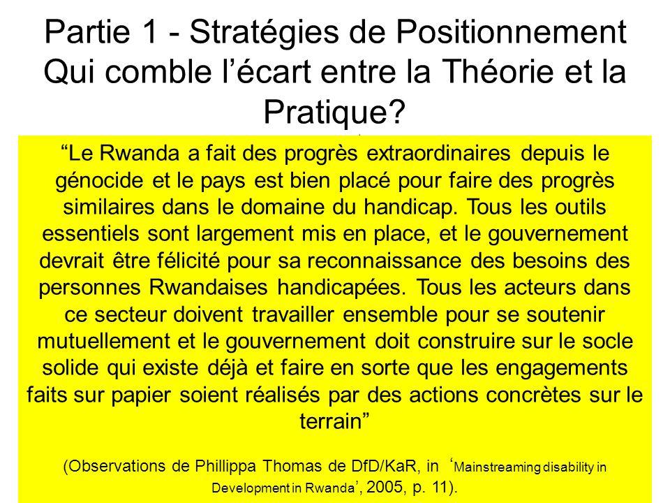 Partie 1 - Stratégies de Positionnement Qui comble lécart entre la Théorie et la Pratique.