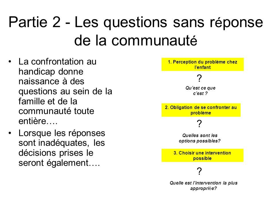 Partie 2 - Les questions sans r é ponse de la communaut é La confrontation au handicap donne naissance à des questions au sein de la famille et de la communauté toute entière….