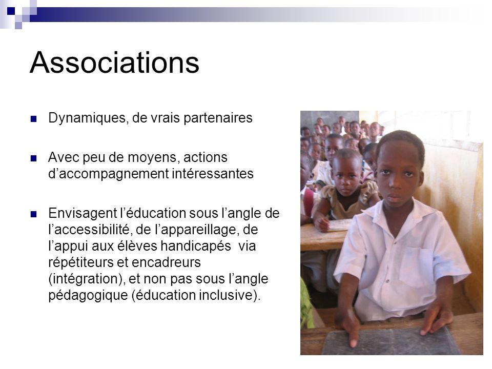Associations Dynamiques, de vrais partenaires Avec peu de moyens, actions daccompagnement intéressantes Envisagent léducation sous langle de laccessib