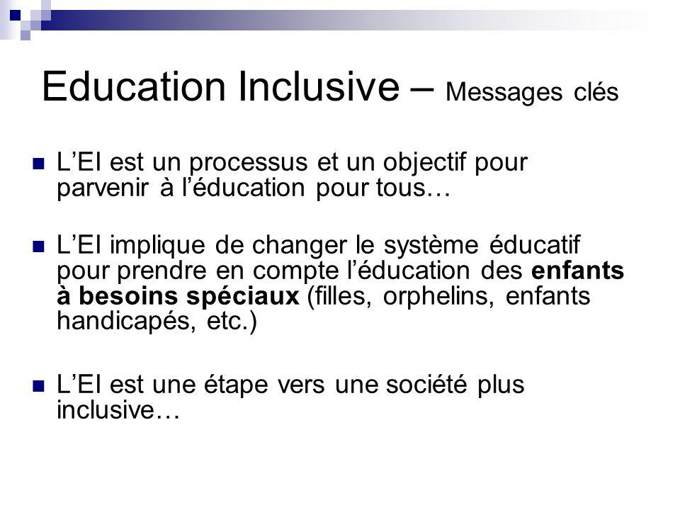 Education Inclusive – Messages clés LEI est un processus et un objectif pour parvenir à léducation pour tous… LEI implique de changer le système éduca