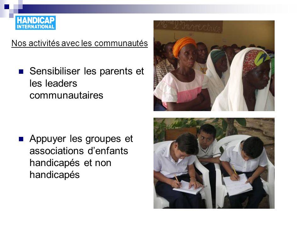 Nos activités avec les communautés Sensibiliser les parents et les leaders communautaires Appuyer les groupes et associations denfants handicapés et n