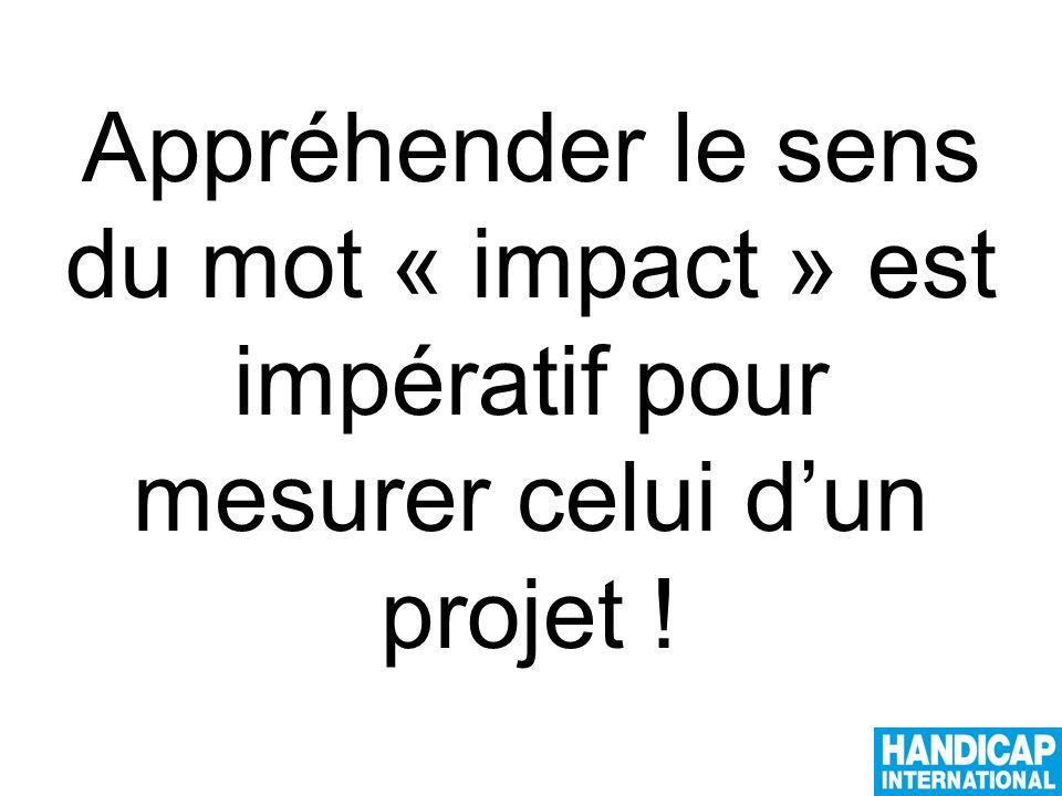 Appréhender le sens du mot « impact » est impératif pour mesurer celui dun projet !
