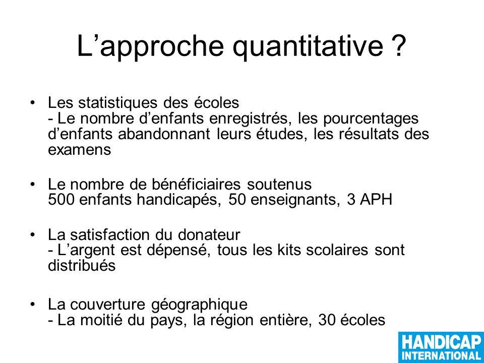 Lapproche quantitative .