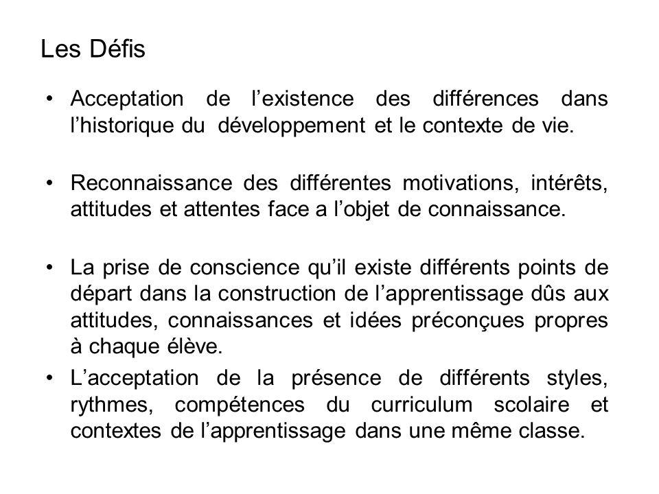 Acceptation de lexistence des différences dans lhistorique du développement et le contexte de vie.