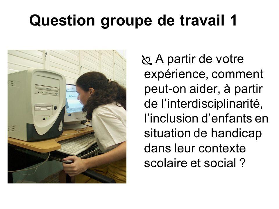 Question groupe de travail 1 A partir de votre expérience, comment peut-on aider, à partir de linterdisciplinarité, linclusion denfants en situation de handicap dans leur contexte scolaire et social