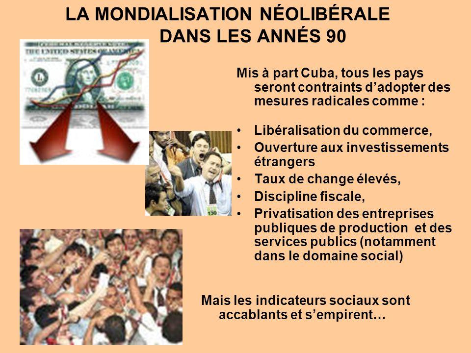 Mis à part Cuba, tous les pays seront contraints dadopter des mesures radicales comme : Libéralisation du commerce, Ouverture aux investissements étrangers Taux de change élevés, Discipline fiscale, Privatisation des entreprises publiques de production et des services publics (notamment dans le domaine social) LA MONDIALISATION NÉOLIBÉRALE DANS LES ANNÉS 90 Mais les indicateurs sociaux sont accablants et sempirent…