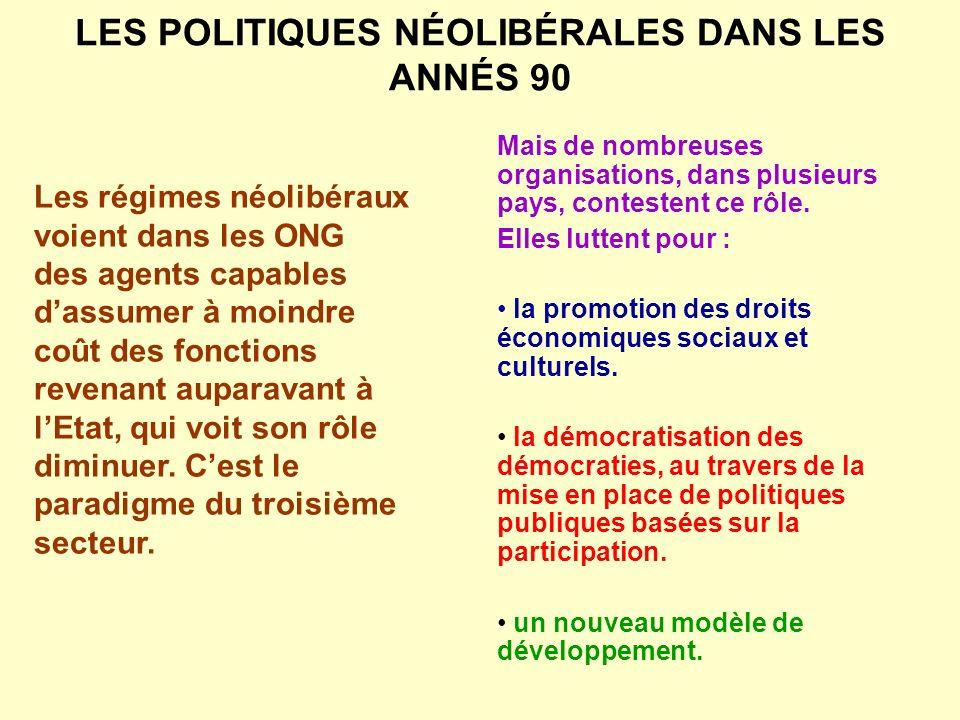 LES POLITIQUES NÉOLIBÉRALES DANS LES ANNÉS 90 Les régimes néolibéraux voient dans les ONG des agents capables dassumer à moindre coût des fonctions re
