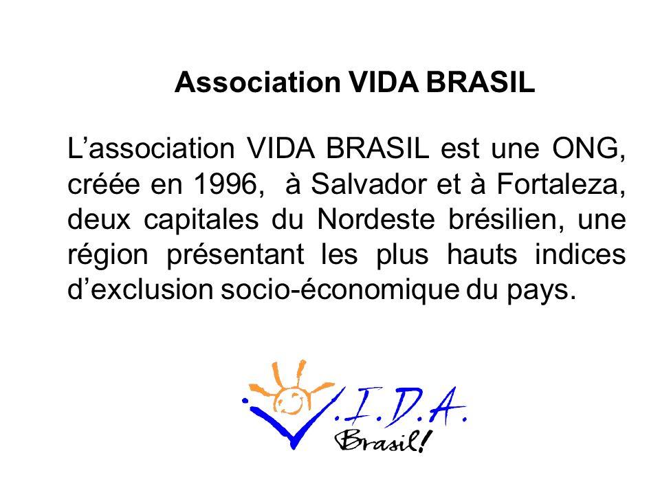 Lassociation VIDA BRASIL est une ONG, créée en 1996, à Salvador et à Fortaleza, deux capitales du Nordeste brésilien, une région présentant les plus hauts indices dexclusion socio-économique du pays.