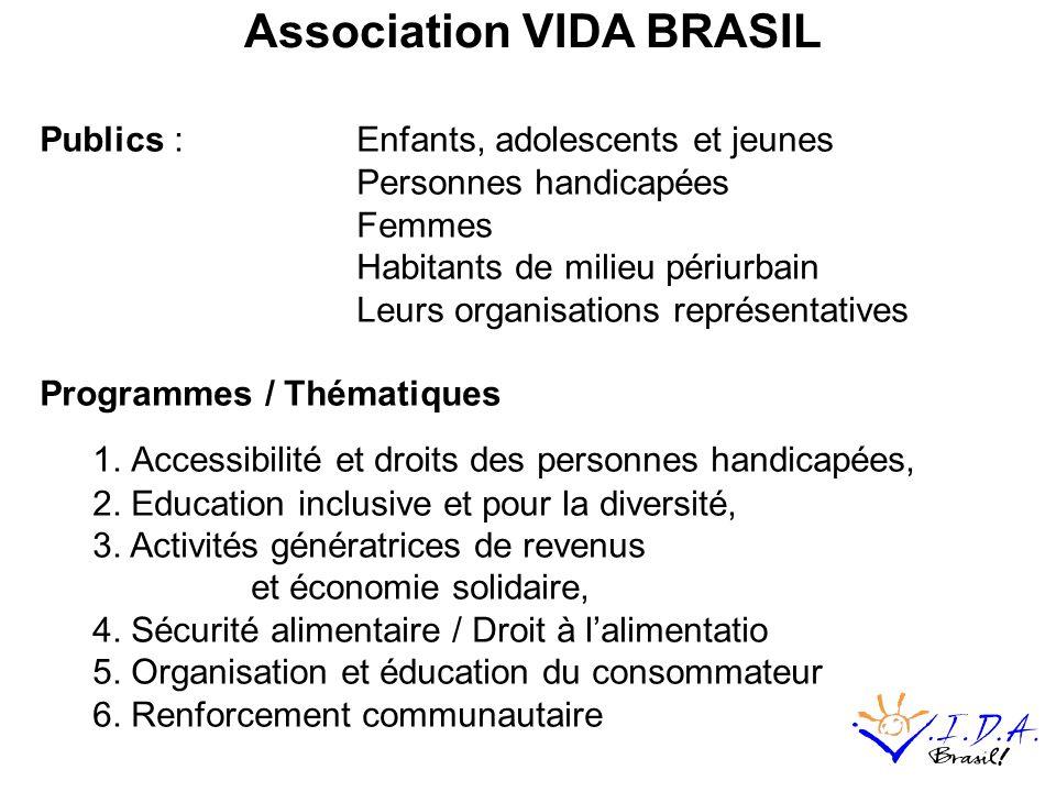 Association VIDA BRASIL Publics : Enfants, adolescents et jeunes Personnes handicapées Femmes Habitants de milieu périurbain Leurs organisations représentatives Programmes / Thématiques 1.