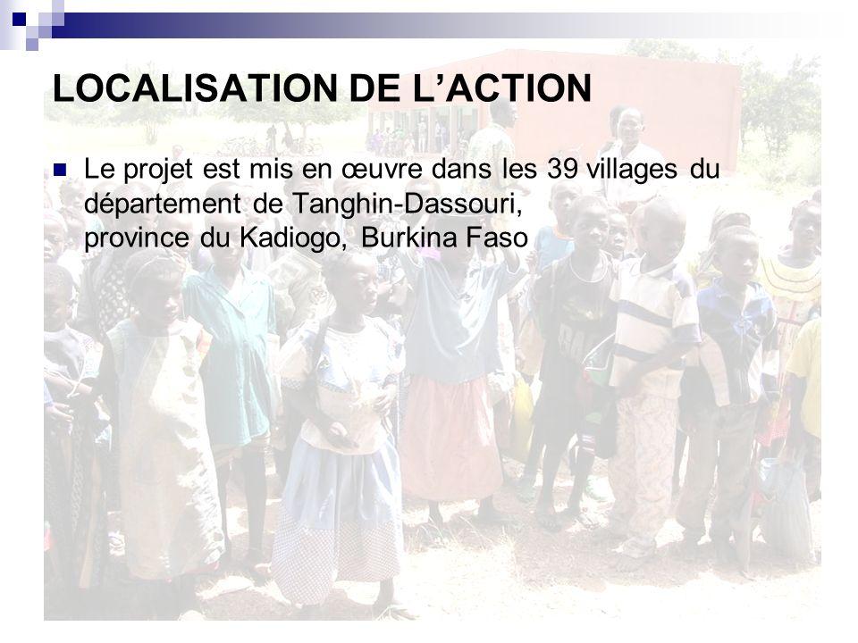 LOCALISATION DE LACTION Le projet est mis en œuvre dans les 39 villages du département de Tanghin-Dassouri, province du Kadiogo, Burkina Faso