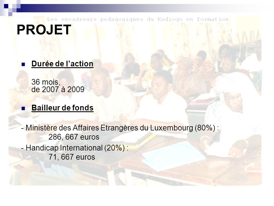 Durée de laction 36 mois, de janvier 2004 à décembre 2006 Bailleur de fonds Lettre de validation du projet et d accord de la part du MEBA .