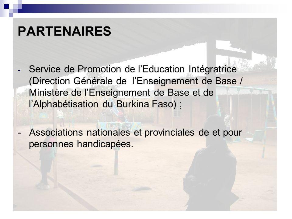 PARTENAIRES - Service de Promotion de lEducation Intégratrice (Direction Générale de lEnseignement de Base / Ministère de lEnseignement de Base et de