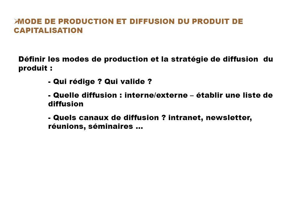 Définir les modes de production et la stratégie de diffusion du produit : - Qui rédige .