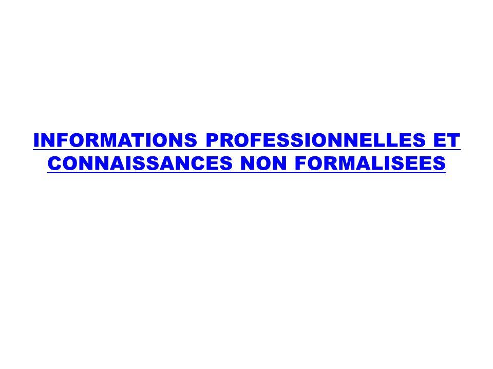 INFORMATIONS PROFESSIONNELLES ET CONNAISSANCES NON FORMALISEES