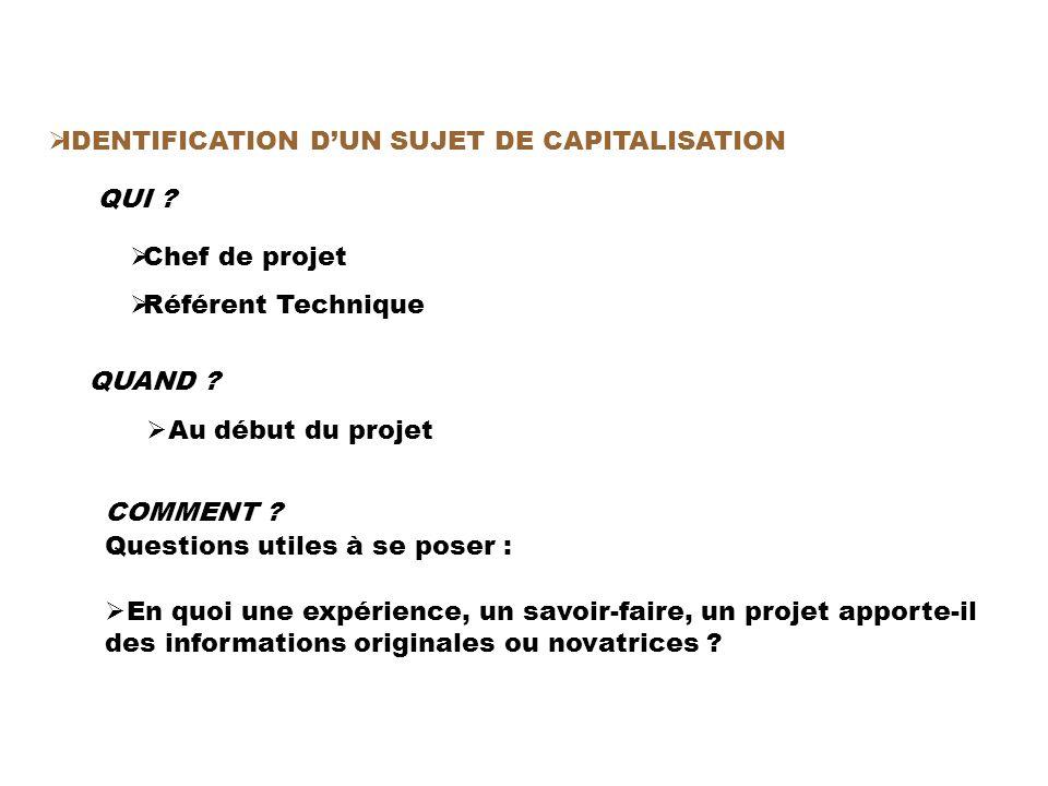 IDENTIFICATION DUN SUJET DE CAPITALISATION QUI . Chef de projet Référent Technique QUAND .