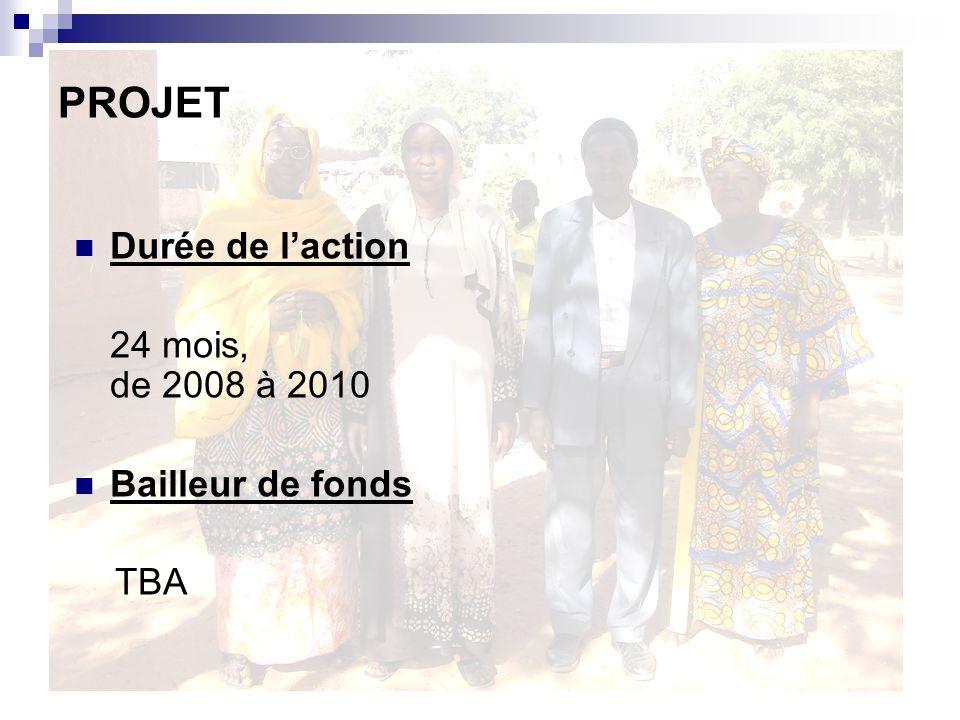 Durée de laction 24 mois, de 2008 à 2010 Bailleur de fonds TBA PROJET