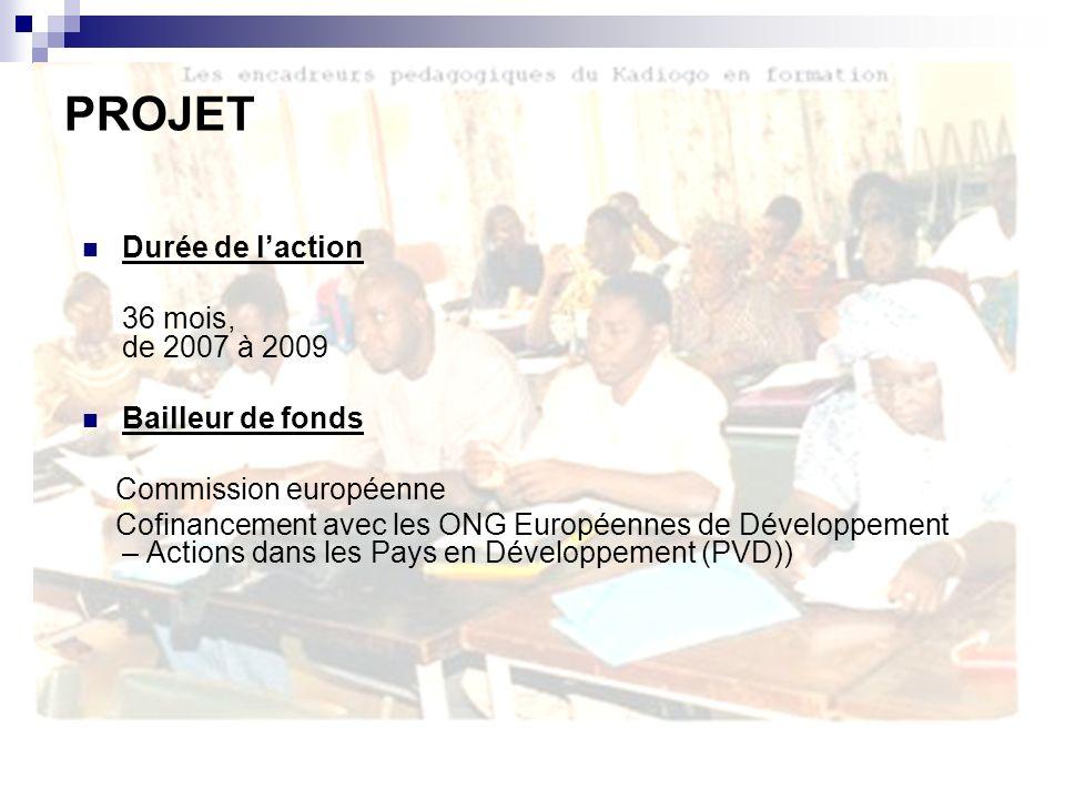 Durée de laction 36 mois, de 2007 à 2009 Bailleur de fonds Commission européenne Cofinancement avec les ONG Européennes de Développement – Actions dans les Pays en Développement (PVD)) PROJET