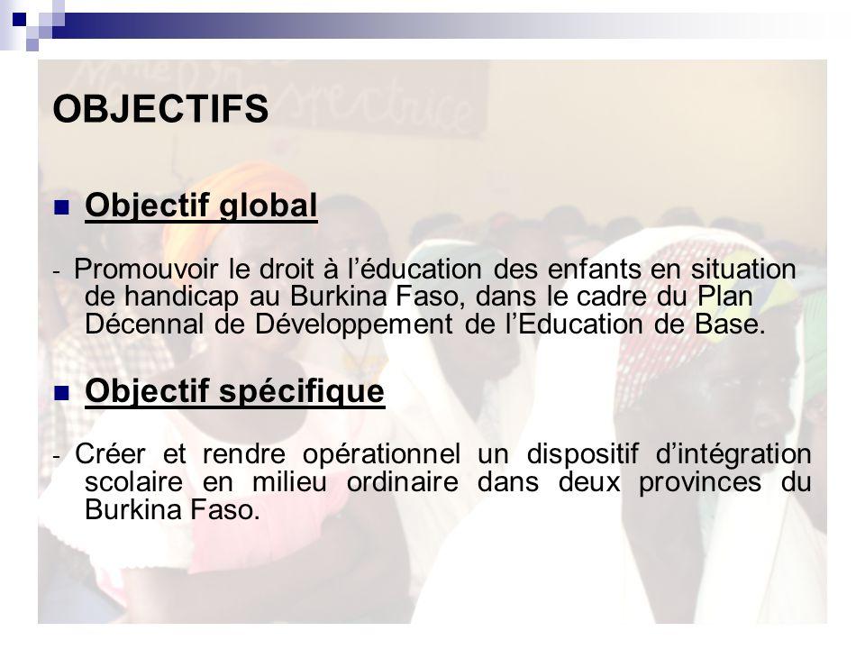 OBJECTIFS Objectif global - Promouvoir le droit à léducation des enfants en situation de handicap au Burkina Faso, dans le cadre du Plan Décennal de Développement de lEducation de Base.