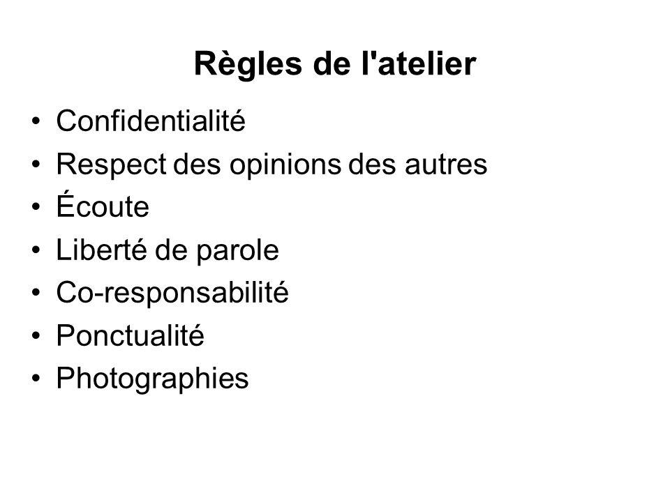 Règles de l'atelier Confidentialité Respect des opinions des autres Écoute Liberté de parole Co-responsabilité Ponctualité Photographies
