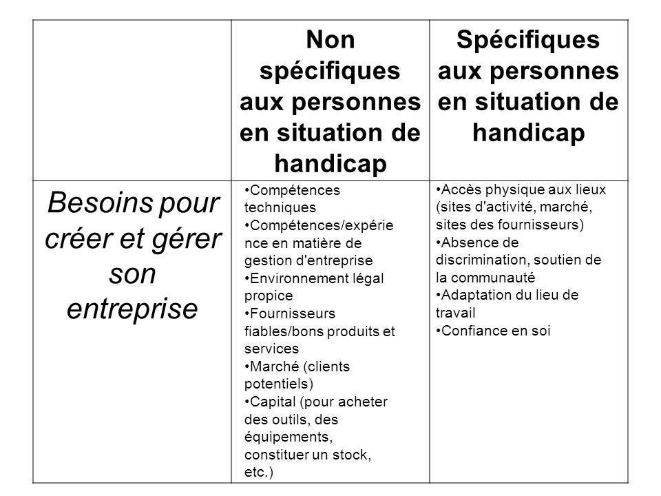 Non spécifiques aux personnes en situation de handicap Spécifiques aux personnes en situation de handicap Besoins pour créer et gérer son entreprise C