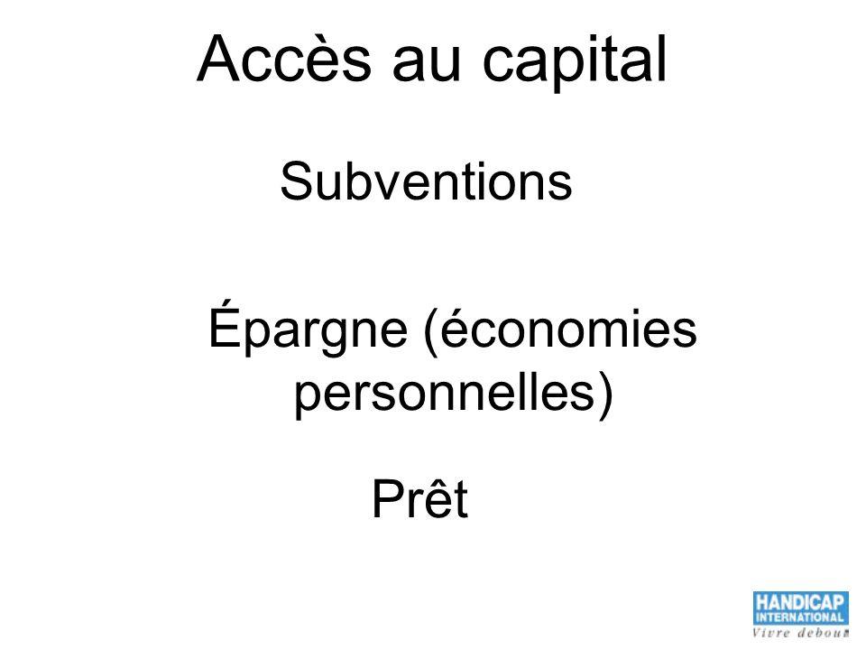 Accès au capital Subventions Épargne (économies personnelles) Prêt
