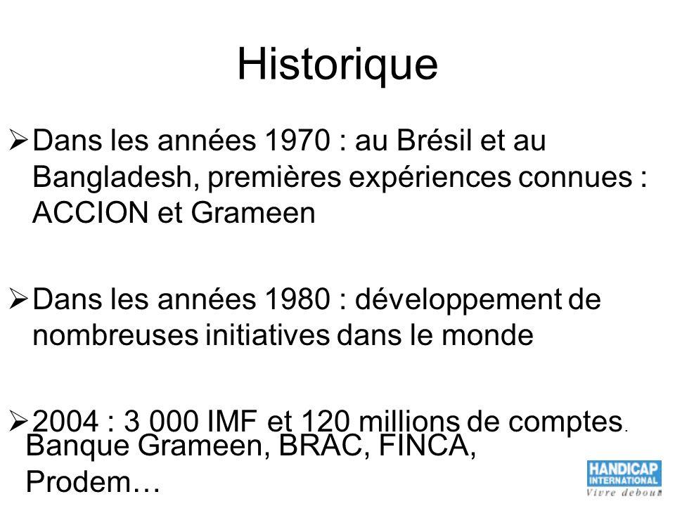 Historique Dans les années 1970 : au Brésil et au Bangladesh, premières expériences connues : ACCION et Grameen Dans les années 1980 : développement d