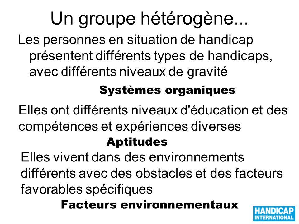 Un groupe hétérogène... Les personnes en situation de handicap présentent différents types de handicaps, avec différents niveaux de gravité Elles ont