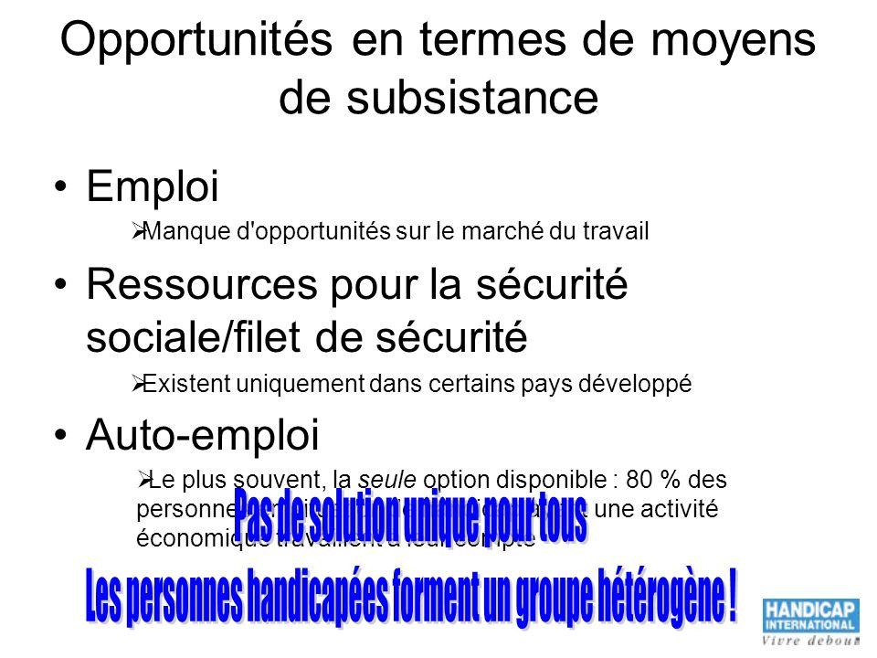 Opportunités en termes de moyens de subsistance Emploi Ressources pour la sécurité sociale/filet de sécurité Auto-emploi Manque d'opportunités sur le
