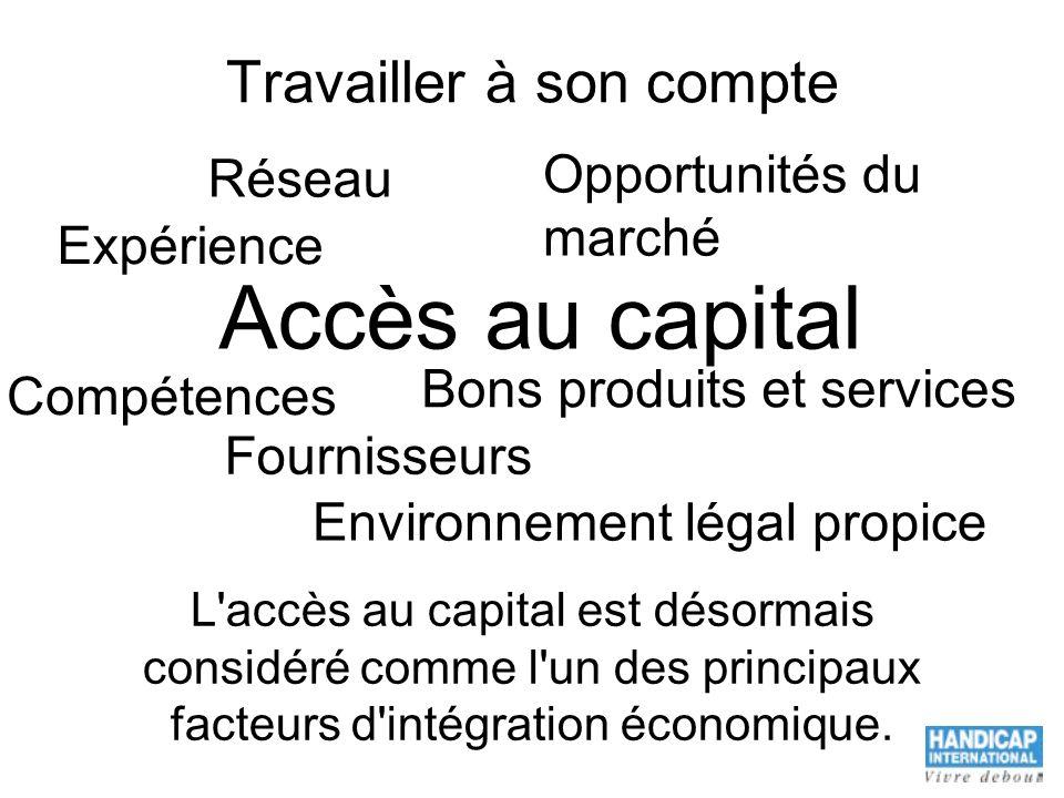 Travailler à son compte L'accès au capital est désormais considéré comme l'un des principaux facteurs d'intégration économique. Compétences Réseau Opp