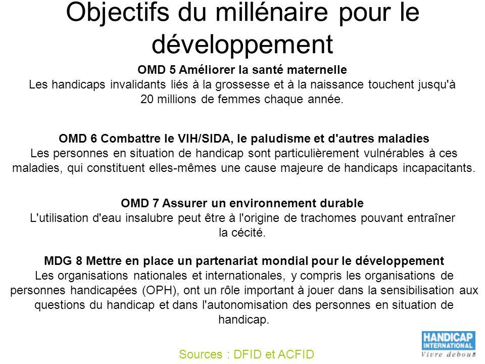 Objectifs du millénaire pour le développement OMD 5 Améliorer la santé maternelle Les handicaps invalidants liés à la grossesse et à la naissance touc