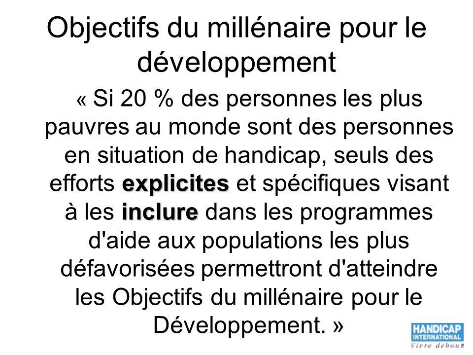 Objectifs du millénaire pour le développement « Si 20 % des personnes les plus pauvres au monde sont des personnes en situation de handicap, seuls des