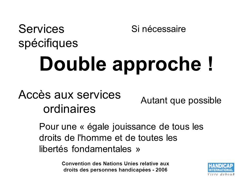 Services spécifiques Accès aux services ordinaires Si nécessaire Pour une « égale jouissance de tous les droits de l'homme et de toutes les libertés f