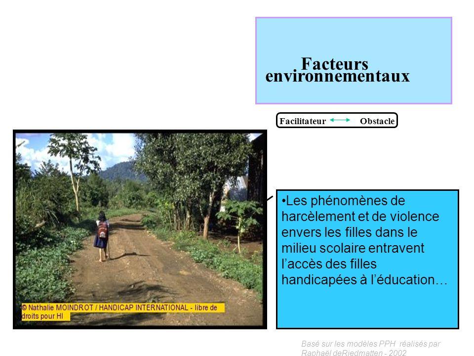 Basé sur les modèles PPH réalisés par Raphaël deRiedmatten - 2002 Facteurs environnementaux Facilitateur Obstacle Dans certaines cultures la présence