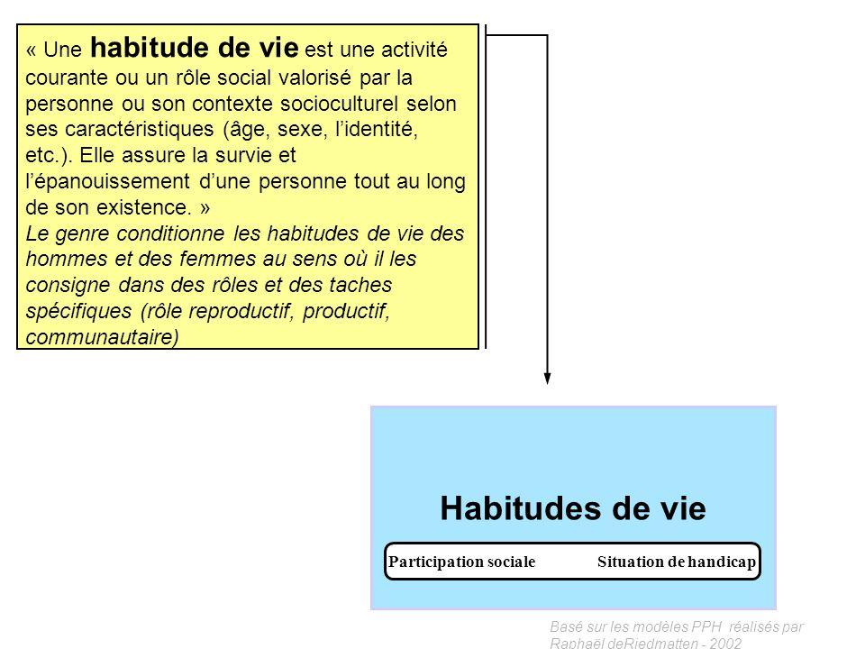 Basé sur les modèles PPH réalisés par Raphaël deRiedmatten - 2002 Facteurs environnementaux Facilitateur Obstacle Lenvironnement familial joue souvent
